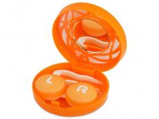 Lencse tartó tükörrel- narancs színű díszítéssel