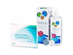 PureVision 2 (3 db lencse) + 360 ml Gelone ápolószer