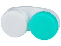 Zöld és fehér L/R jelzéssel ellátott kontaktlencse tartó